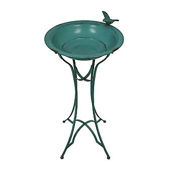 Blue Verdigris Finish Standing Metal Bird Bath w/Bird Accent