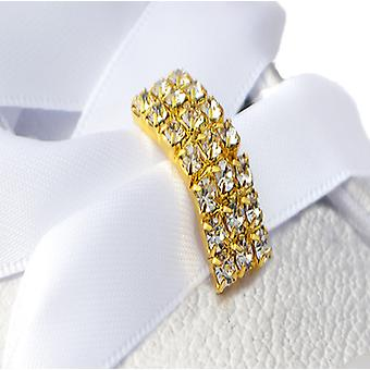 Gold Crystal Tag Shoe Charms