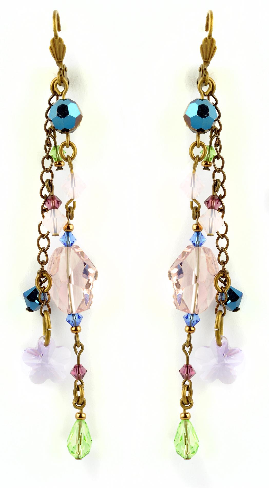 Waooh - jewelry - WJ0818 - earrings with Swarovski Blue Pink White Green - mount colour gold rhinestones