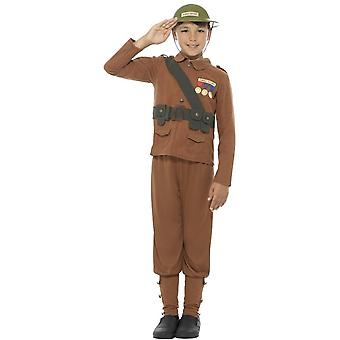 Traje de soldado de historias horribles, marrón, con Top, pantalones y sombrero