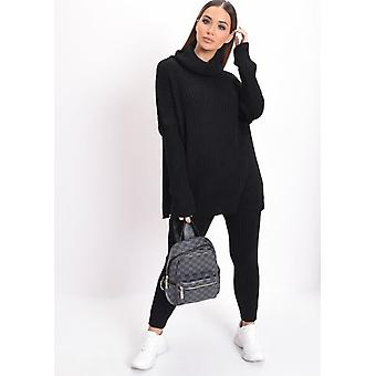 Maglia Roll Neck Loungewear Co ord Set Black
