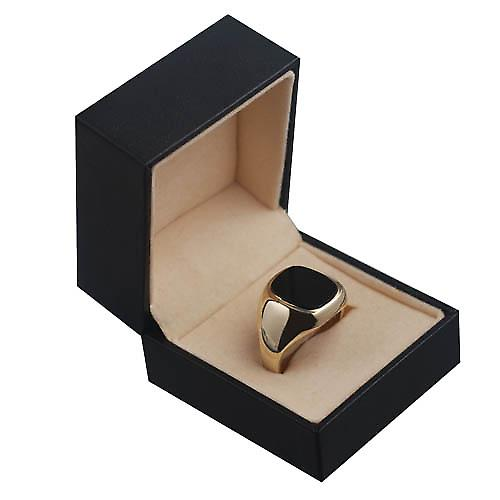 9ct Gold 15x13mm onyx cushion gents signet Ring