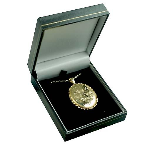 9ct Gold 37x28mm oval hand engraved flowers twisted wire edge Locket with a belcher chain