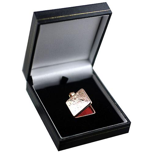 9ct Rose Gold 22mm flat square hand engraved Locket