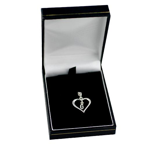 Silver heart Pendant with a hanging Initial G