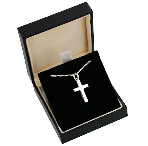 Silver 20x12mm line border block Cross with Curb chain