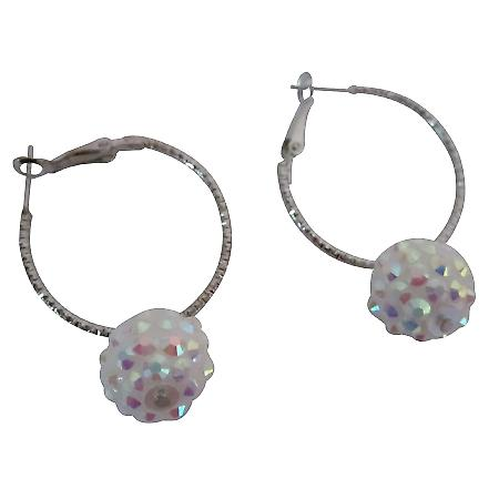 Sparkling White Pave Ball Hoop Earrings Irresistible Jewelry
