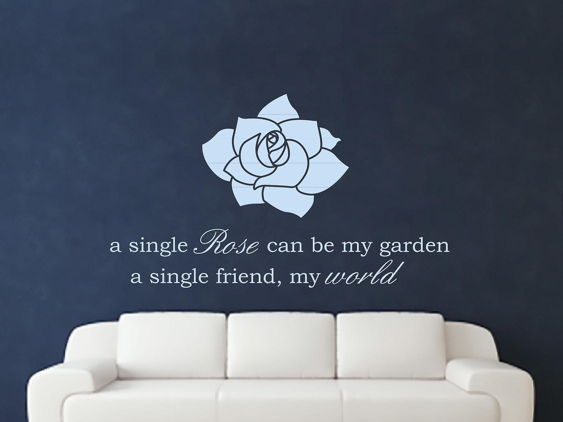 A Single Rose Wall Art Sticker - Pastel Blue