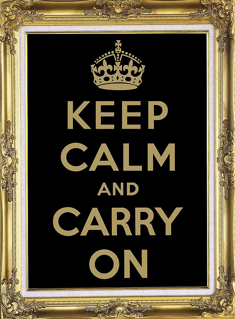 Keep Calm and Carry On (black/gold) metal sign  (fd)