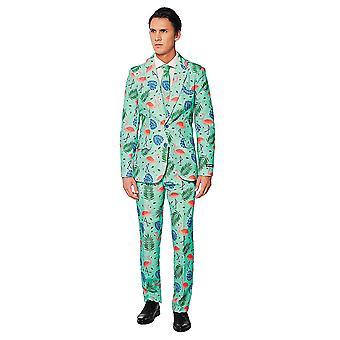 Flamingo Tropical Anzug mint Suitmeister Slimline Economy 3-teilig