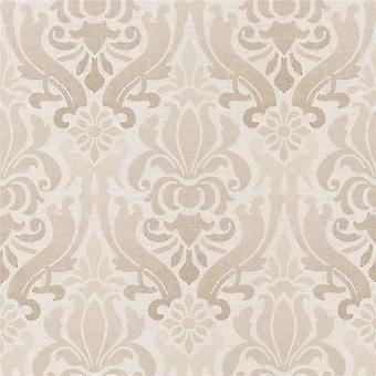 Damast moderne Kenneth James Paste Wallpaper Wand Beige Non-Woven