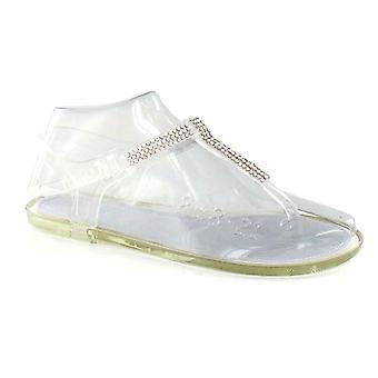 Ladies Spot On Diamante Sling Toe Post Jelly Sandal