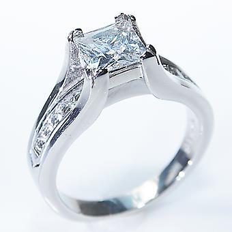 Ah! Smycken rostfritt stål Princess Cut Ring