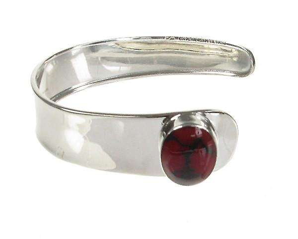 Cavendish French Silver Cuff and Red Jasper Button Bangle