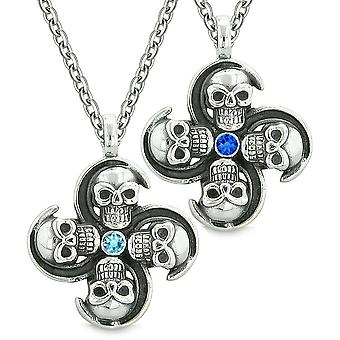 Supernatural Skull Amulet Powers Love Couples Best Friends Set Sky Royal Blue Crystals Pendant Necklaces