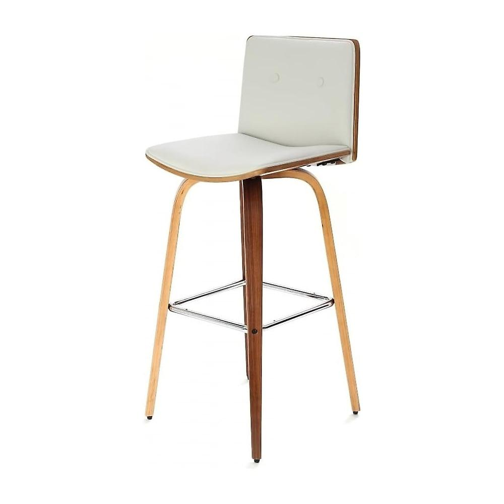 Fusion Living Ivory blanc Faux cuir And Walnut bois Button Back Contemporary Bar Stool