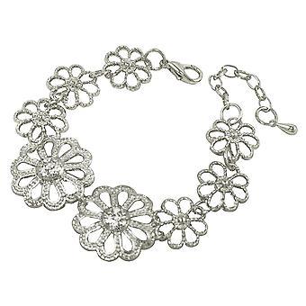 Ewige Sammlung Marguerite klar Kristallsilber Ton Daisy Mode Armband