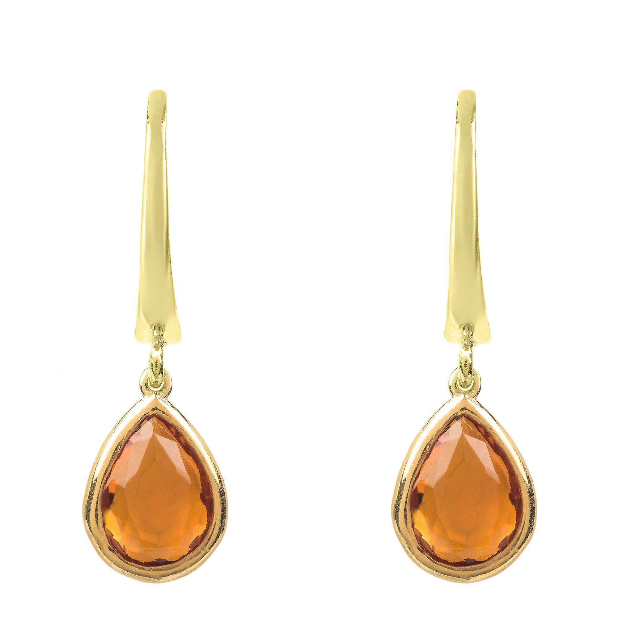 Latelita Gold Earrings Small Gemstone Dangle Drop Yellow Orange Citrine Silver
