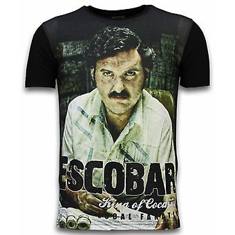 Escobar King Of Cocaine-Digital Rhinestone T-shirt-Noir