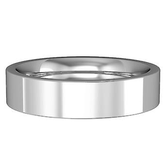 Jewelco London 18ct White Gold - 5mm Premium Flat Court-Shaped Band Commitment / Wedding Ring