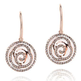 14K Gold Plated Stellux Austrian Crystals Rose Flower Earrings, 4.2cm