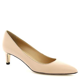 Leonardo Shoes Women's handmade heel pumps shoes in powder pink napa leather
