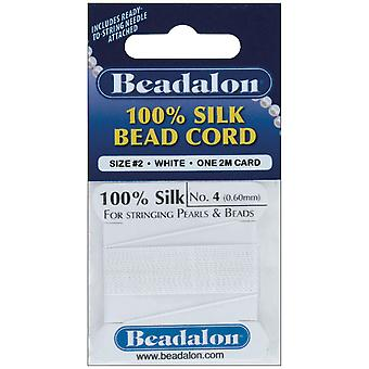 Silk Bead Cord .60Mm 6.5 Feet Pkg White Sc104 A