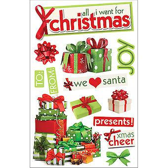 Paper House 3 D Sticker All I Want For Christmas Stdm179e