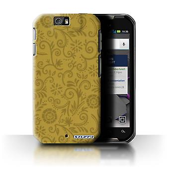 STUFF4 Case/Cover for Motorola IronRock/XT626/Yellow Flower/Floral Swirl Pattern