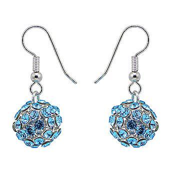 Aquamarine Crystal Mesh Ball Earrings EMB112.1