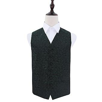Black & Green Swirl Patterned Wedding Waistcoat