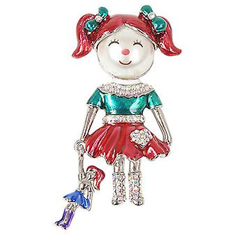 Butler  and  Wilson Vintage Pearl Doll Crystal  and  Enamel Brooch
