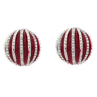 Clip On Earrings Store Red Enamel and Crystal Half Ball Clip On Earrings