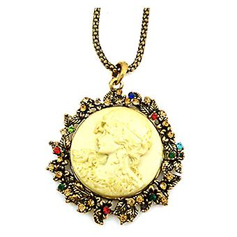 Large Antique Gold & Crystal Round Cameo Pendant on a Long Necklace
