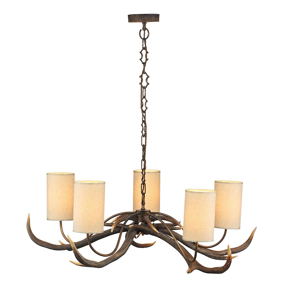 David Hunt ANT0529S Antler 5 Light Pendant In A Natural Rustic Finish - Shades Included