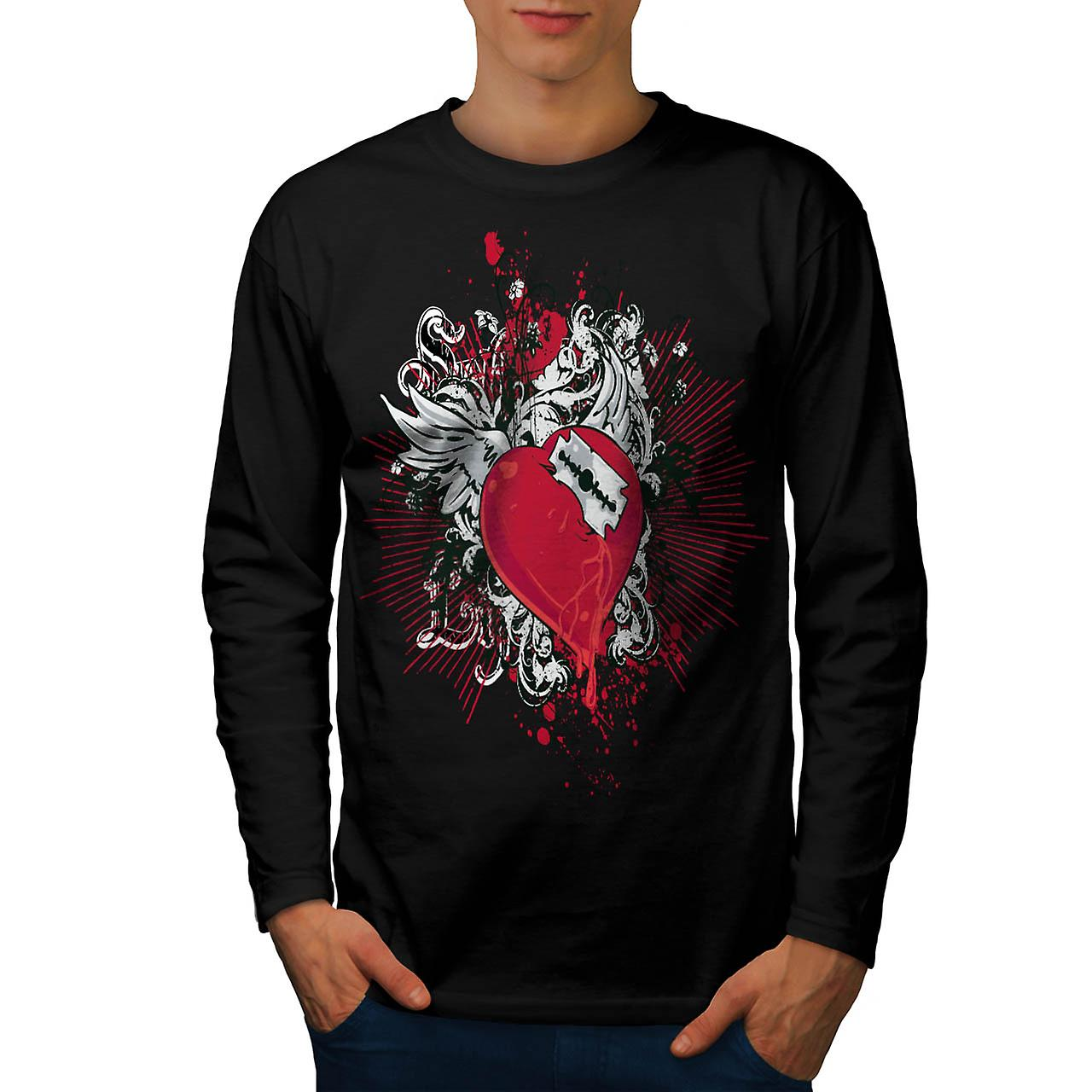 Broken Heart Cool Fashion Men Black Long Sleeve T-shirt | Wellcoda