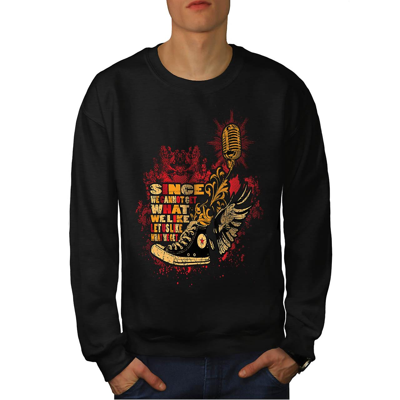 Like What We Get Vintage Men Black Sweatshirt | Wellcoda