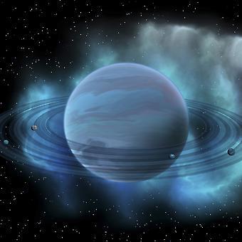 Concetto di artisti del pianeta Nettuno Nettuno è il pianeta otto nel nostro sistema solare e ha anelli planetari e una grande macchia scura che indica una tempesta sulla sua superficie stampa Poster