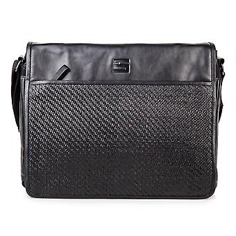 Cinque leather business Messenger crossover shoulder bag black