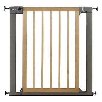 Lindam Sure Shut Deco Safety Gate - Natural Wood & Silver Metal