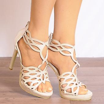 Koi Couture Nude Heels - Ladies Fd22 Nude Patent Peep Toes Ankle Strap Stilettos Strappy Sandals High Heels