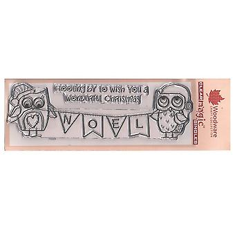 Woodware Clear Stamp gufo Banner