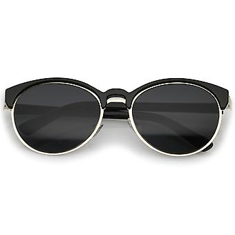 Classic Double Nose Bridge Metal Trim Round Cat Eye Sunglasses 55mm