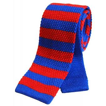 Tyler and Tyler Striped Knitted Wool Tie - Blue/Red