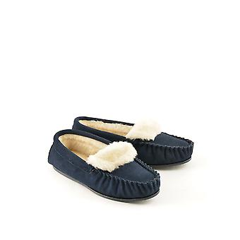 Scintilla Suede Moccasin Slippers in Navy