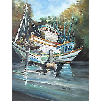 Shrimpers Cove og reker båter flagg House lerretet