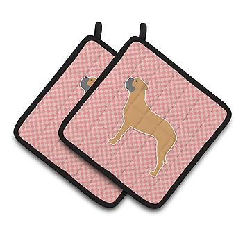 Bullmastiff Checkerboard Pink Pair of Pot Holders