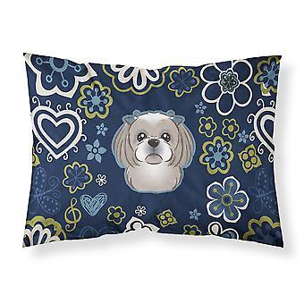 Blue Flowers Gray Silver Shih Tzu Fabric Standard Pillowcase