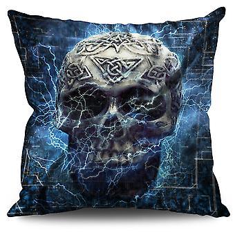 Lightning Skull Linen Cushion Lightning Skull | Wellcoda