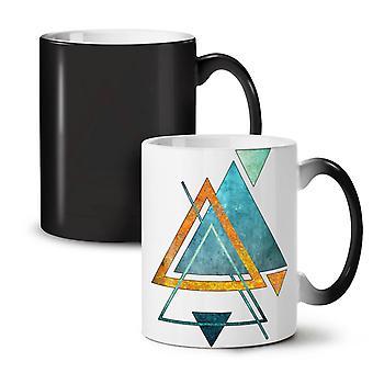 Abstract Triangle NEW Black Colour Changing Tea Coffee Ceramic Mug 11 oz | Wellcoda